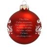 Üvegkarácsonyfadíszek Házi Áldás matt piros üveggömbön, 8cm-es