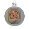 Üvegkarácsonyfadíszek Kis angyalok fehér üveggömbön, 8 cm-es