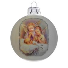 Üvegkarácsonyfadíszek Kis angyalok fehér üveggömbön, 8 cm-es vallás