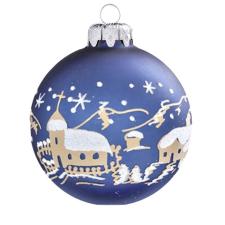 Üvegkarácsonyfadíszek Matt éjkék üveggömb, havas faluval, 6 cm-es karácsonyi dekoráció