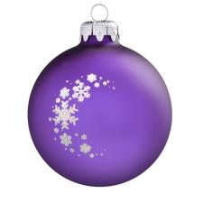Üvegkarácsonyfadíszek Matt lila, 8 cm-es üveggömb, csillogó hópelyhekkel. Rendelje névre szólóan! karácsonyi dekoráció