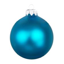 Üvegkarácsonyfadíszek Matt türkizkék gömb 10cm-es 4db karácsonyi dekoráció