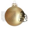 Üvegkarácsonyfadíszek Mi Atyánk németül, matt arany üveggömbön, 8 cm-es