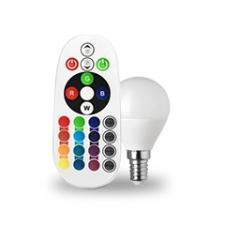 V-tac LED lámpa E14 (3.5W/180°) Kisgömb - RGB+NW+RF távirányítható izzó