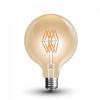 V-tac LED lámpa , égő , izzószálas hatás , gömb , E27 foglalat , G95 , 8 Watt , meleg fehér ,...