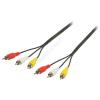 Valueline RCA - RCA összekötő kábel RCA x3 apa - RCA x3 apa 10m Valueline VLVP24300B100