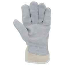 Védőkesztyű, marha hasítékbőr, 10-es méret, szürke/beige védőkesztyű