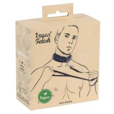 Vegan Fetish - szegecses nyakörv pórázzal (fekete) bilincs, kötöző