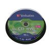 Verbatim CD-RW lemez, újraírható, SERL, 700MB, 8-10x, hengeren