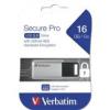 "Verbatim Pendrive, 16GB, USB 3.0, 100/20MB/sec, PC & MAC, VERBATIM \""SECURE DATA PRO\"", szürke"
