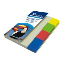 VICTORIA Jelölőcímke, műanyag, 4x40 lap, 20x50 mm, VICTORIA, vegyes szín post-it