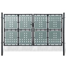 vidaXL 2 ajtós kapu 300 x 200 cm fekete építőanyag
