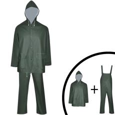 vidaXL 2 darabos vízálló nagy teherbírású csuklyás eső ruha méret M zöld