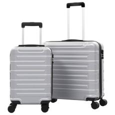 vidaXL 2 db ezüst színű keményfalú ABS gurulós bőrönd