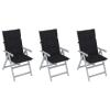 vidaXL 3 db dönthető tömör akácfa kerti szék párnával