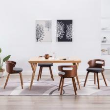 vidaXL 4 db sötétszürke hajlított fa és szövet étkezőszék bútor