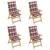 vidaXL 4 db tömör tíkfa kerti szék piros kockás párnával