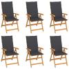 vidaXL 6 db tömör tíkfa kerti szék antracitszürke párnákkal