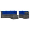 vidaXL 6 részes tömör fenyőfa kerti raklap-bútorgarnitúra párnákkal