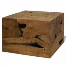 vidaXL Barna, valódi tíkfa dohányzóasztal 50 x 50 x 35 cm bútor
