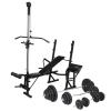 vidaXL edzőpad állvánnyal, egykezes és kétkezes súlyzószettel 120 kg