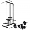 vidaXL edzőtorony egykezes és kétkezes súlyzókészlettel 30,5 kg