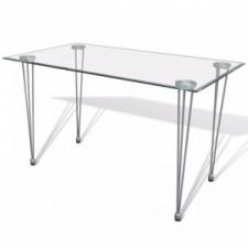 vidaXL Étkezőasztal átlátszó üveglappal bútor