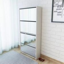 vidaXL Fehér 4 szintes tükrös cipőszekrény 63 x 17 x 134 cm kerti bútor