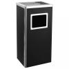 vidaXL Fekete acél szemeteskuka hamutartóval 45 liter