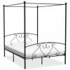 vidaXL Fekete fém baldachinos ágykeret 160 x 200 cm