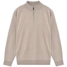 vidaXL férfi cipzáros pulóver szvetter bézs XL
