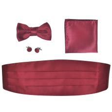 vidaXL Férfi haskütő & nyakkendő szett burgundi bőr szín