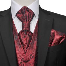 vidaXL Férfi Praisley esküvői mellény szett méret 52 burgundi bőr szín