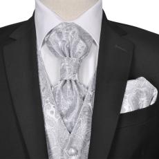 vidaXL Férfi Praisley esküvői mellény szett méret 52 ezüst szín