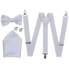 vidaXL Férfi szmoking kiegészítő- nadrágtartó & nyakkendő szett fehér