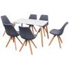 vidaXL hét darabos étkezőasztal és szék szett fehér világosszürke