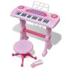 vidaXL Játék 37 billentyűs zongora székkel és mikrofonnal rózsaszín