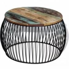 vidaXL Kerek tömör újrahasznosított fa dohányzóasztal 68 x 43 cm bútor