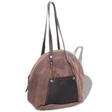 vidaXL kézitáska vászon és valódi bőr barna kézitáska és bőrönd