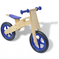 vidaXL lábbal hajtható fa kerékpár kék lábbal hajtható járgány