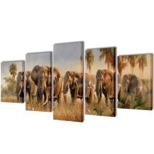 vidaXL Nyomtatott vászon falikép szett elefántok 200 x 100 cm grafika, keretezett kép