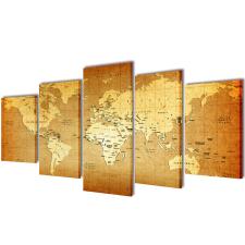 vidaXL Nyomtatott vászon falikép szett Világtérkép 100 x 50 cm grafika, keretezett kép