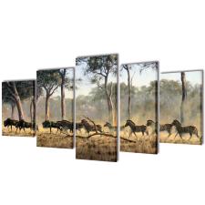 vidaXL Nyomtatott vászon falikép szett zebrák 100 x 50 cm vetítővászon