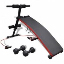 vidaXL Többféle pozícióban állítható haspad 3 kg-s súlyzókkal edzőpad