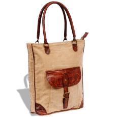 vidaXL Valódi bőr & vászon bevárárló táska csattal Bézs szín