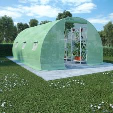 vidaXL vidaXL 13,5 m²-es acélalapzatú melegház 450 x 300 x 200 cm kerti dekoráció