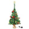 vidaXL zöld műfenyő karácsonyfa díszekkel és LED fényekkel 64 cm