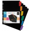 """VIQUEL Regiszter, műanyag, A4 Maxi, 6 részes,  """"Rainbow Class"""", fekete"""