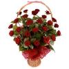Virágküldés, vörös rózsa kosár