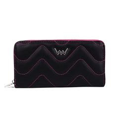 VUCH Camilla hullámtűzéses nagy körzippes pénztárca-fekete-pink P2324